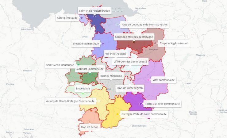 carte des epci d'Ille-et-Vilaine