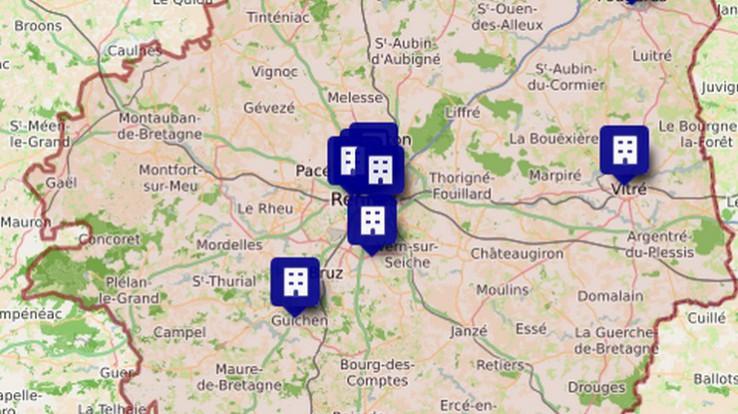 Carte des foyers pour jeunes travailleurs en Ille-et-Vilaine
