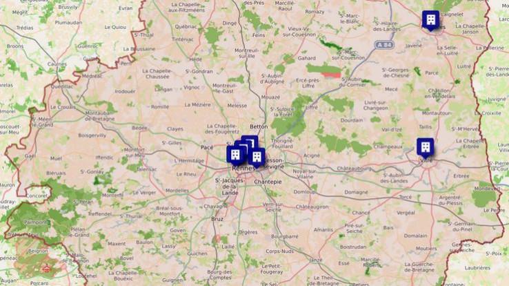 Carte des Résidences habitat jeunes en Ille-et-Vilaine