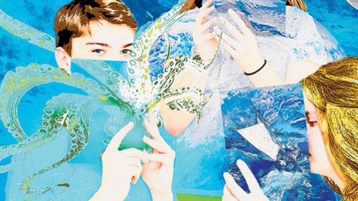 Peinture d'adolescents lisant un livre
