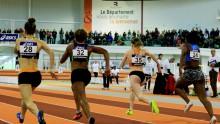 Une épreuve de sprint féminin sur les Championnats de France espoirs et nationaux au stade Robert Poirier