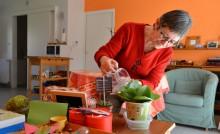 Une personne âgée arrose une plante dans un logement adapté