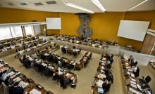 Les élu-es du Département réunis en session.