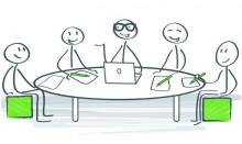 Dessin d'un groupe de réflexion RSA autour d'une table
